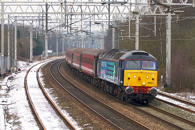 47853'Rail Express' approaches Longport with 5Z45 09.00 Crewe to Stoke-on-Trent Sideway Loop via Liverpool Lime Street, Manchester Victoria and Stockport DRS crew training service. 47501 'Craftsman' is dead on the rear. Thursday 17th January 2013.