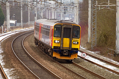153357 & 153384 forming the 1K12 Crewe to Derby stopping service approach Longport. Thursday 17th January 2013.