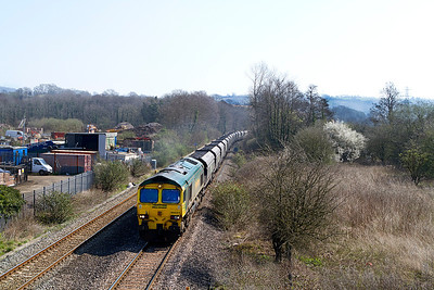 With driver Mark Watkins in charge 66531 climbs past Ponthir with 6M04 10.50 Portbury to Rugeley Power Station loaded coal. Tuesday 27th March 2012.