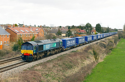 66431 passes Portskewett with 4V38 08.22 Daventry to Wentloog Tesco train. Thursday 8th March 2012.