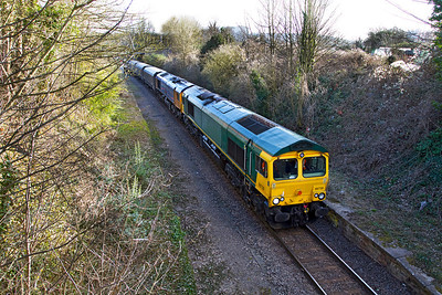 GBRF Ex Freightliner 66579 now 66739 & 66719 'METRO-LAND' pass the site of Ashton station on the Portbury branch with 4V94 09.52 Doncaster Decoy Yard to Portbury Docks empty biomass hoppers. Wednesday 7th March 2012.