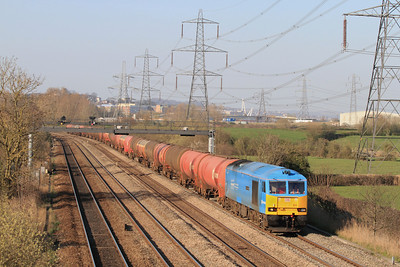 60074 'Teenage Spirit' passes Duffryn westbound with 6B33 13.35 Theale to Robeston empty tanks. Tuesday 27th March 2012.