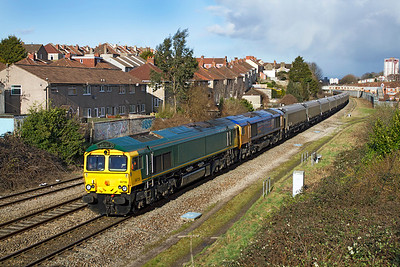 GBRF Ex Freightliner 66579 now 66739 & 66719 'METRO-LAND' pass Parson Street with 4V94 09.52 Doncaster Decoy Yard to Portbury Docks empty biomass hoppers. Wednesday 7th March 2012.
