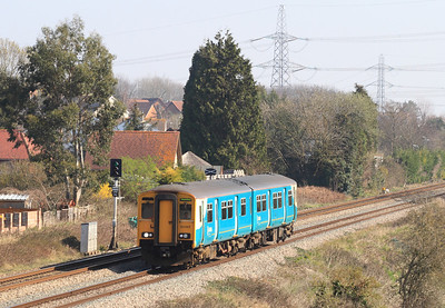 Arriva Trains Wales 150267 passes Portskewett on a Cheltenham Spa to Maesteg service. 27th March 2012.