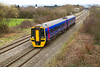 One of only 2 FGW 158's remaining in 2 car formation passes Badgeworth forming the 13.34 Cheltenham Spa to Weymouth. Friday 16th March 2012.