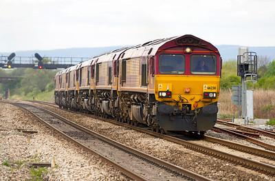 0X12 loco convoy Margam/ADJ to Westbury consisting of 66238, 66177, 66040, 66016, 66009 & 66047 climb Pilning Bank, Saturday 5th May 2012.