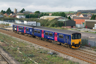 Ex Silverlink 150129 'Devon & Cornwall Rail Partnership' arrives at Severn Tunnel Junction forming the 12.00 Cardiff Central to Taunton. 23/11/2011.