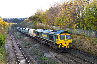 66531 passes Cattybrook on the exit from Patchway Tunnels with 6Z25 09.08 Bow to Pengam hoppers.Thursday 10th November 2011.