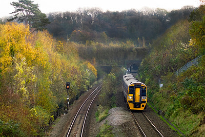 158954 heads along the split track section at Patchways Tunnels at Cattybrook forming the 11.23 Portsmouth Harbour to Cardiff Central. 10/11/2011
