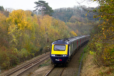 The 13.45 FGW HST service from Paddington to Swansea heads through the autumn colours at Cattybrook, Thursday 10th November 2011.