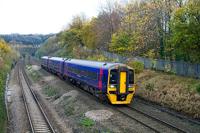 158957 forming the 12.23 Portsmouth Harbour to Cardiff Central passes Cattybrook. 10/11/2011.