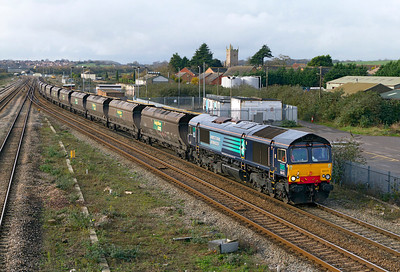 EX DRS 66415 now with Freightliner but still in full DRS livery passes Severn Tunnel Junction with 4F56 10.42 Uskmouth Power Station to Stoke Gifford Yard empty coal hoppers. Wednesday 23rd November 2011.