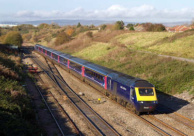 43124 & 43142 climb away from the Severn Tunnel past Pilning Village with the 09.55 Cardiff Central to Paddington. 17/11/2011.