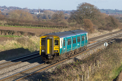 150252 forming the 2L43 10.45 Cheltenham Spa to Maesteg is south of Lydney. Wednesday 5th December 2012.