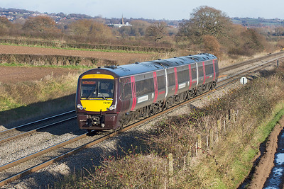 The 1V06 09.11 Nottingham to Cardiff Central formed of 170106 heads south near Lydney. Wednesday 5th December 2012.