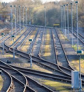 Straight lines. An empty Hinksey Yard, Oxford. Thursday 29th November 2012.