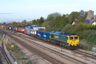 66564 heads the 4O51 09.58 Wentloog to Southampton Freightliner past Magor, Thursday 20th October 2011.
