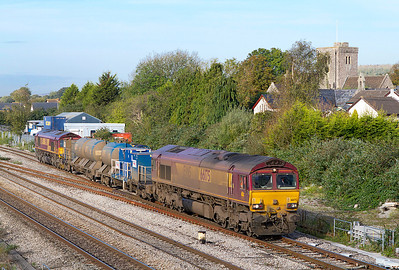 The Barton Hill based RHTT 3S59 on the leg from Moreton-on-Lugg to Weston-super-Mare passes Magor with 66175 leading, the rear loco is recent replacement on this train 66079 'Benjamin Gimbert G.C.' Thursday 20th October 2011.