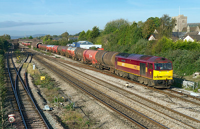 60071 'Ribblehead Viaduct' passes Magor on the slow with 6B13 05.05 Robeston to Westerleigh loaded tanks. 20/10/2011