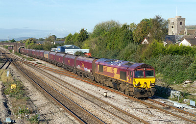 66050 passes Magor on the slow with 4C70 Aberthaw Power Station to Portbury Dock empty hoppers. 20/10/2011