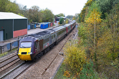 43357 & 43378 pass Ram Hill, Coalpit Heath with the 1S51 12.23 Plymouth to Glasgow Cross Country HST service. Thursday 25th October 2012.