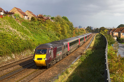 The 1V50 06.06 Edinburgh to Plymouth with power cars 43303 & 43207 approaches Parson Street. Wednesday 17th October 2012.