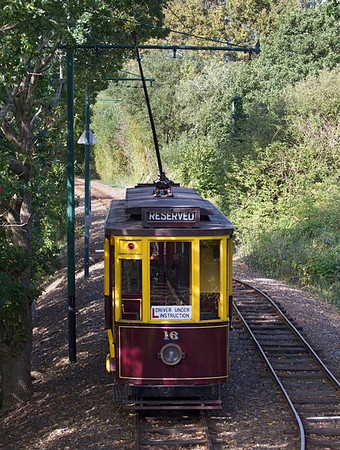 Seaton Tramway Car 16 is engaged in driver experience duties heading for Colyton. Saturday 6th October 2012.