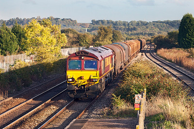 66091 passes Pilning with 6V47 10.13 Tilbury IRFT to Trostre Works. Thursday 17th October 2013.