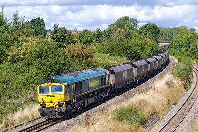 66507 brings up the rear of 6M04 passing Patchway. Saturday 7th September 2013