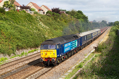 47818 leads 1Z72 07.45 Liverpool South Parkway High Level to Paignton past Bartlett's Bridge on the exit from Bristol. 47501 is dead on the rear. Monday 2nd September 2013.