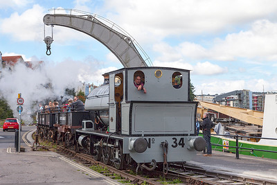 Bristol Harbour Railway's resident 'Portbury' was top & tailing with the Par Twins and here returns from the SS Great Britain station. Saturday 14th September 2013.