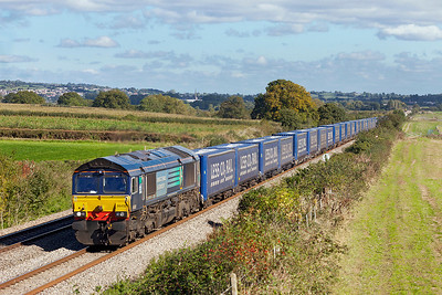 Running 70 minutes late 66432 passes Woolaston with 4V38 08.23 Daventry to Wentloog Tesco Express. Thursday 10th October 2013.
