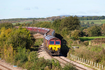 66155 winds down off Bishton Flyover with 4C55 08.58 Aberthaw Power Station to Avonmouth empty coal hoppers. Thursday 10th October 2013.