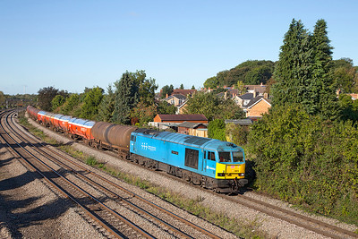60074 'Teenage Spirit' passes Undy with 6B13 05.05 Robeston to Westerleigh loaded Murco tanks. Thursday 10th October 2013.