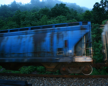 Early evening train passes through the Narrows in Cumberland, Maryland
