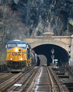 CSX #5414 passes through the Harper's Ferry Tunnel in Harpers Ferry, West Virginia.