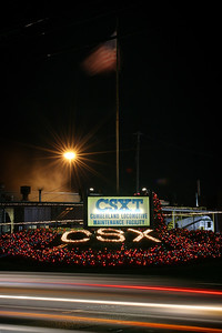 Holiday lights at the Cumberland Maryland CSX Locomotive Maintenance Facility