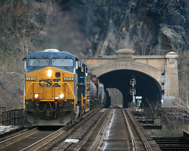 CSX #5414 passes through the Harpers Ferry Tunnel in Harpers Ferry, West Virginia.