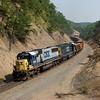 W/b ballast train approaching Jerrys Run on Alleghany Grade.