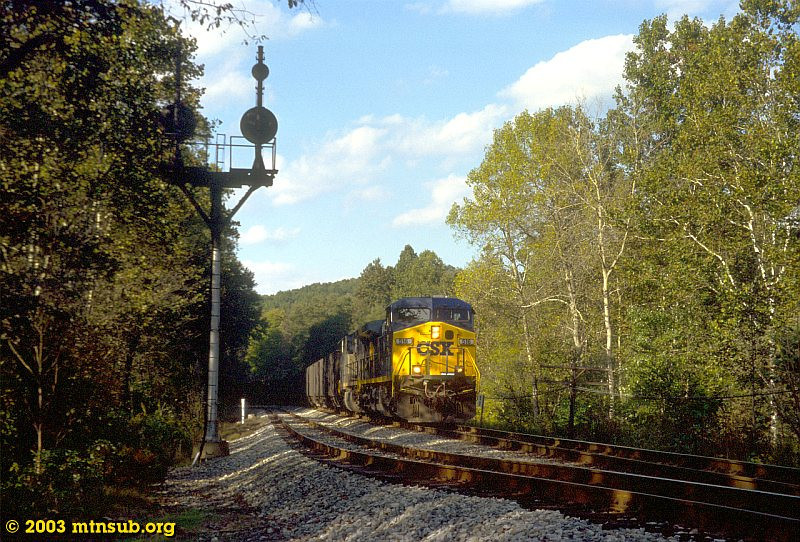 Empty coal passing Berryburg Junction. 2003.