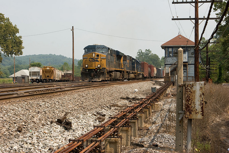 CSXT 5205 leading Q416 w/b through the work limits at Hancock, WV.