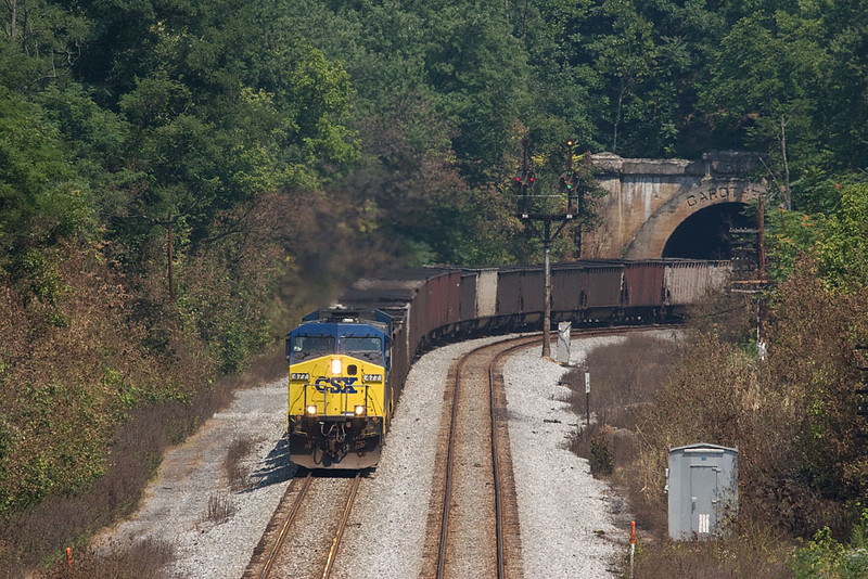 E722 w/b exiting Carrrothers Tunnel approaching Paw Paw, WV.