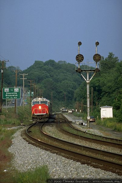 One of the evening commuter rush trains westbound at Weverton, MD. 2000.