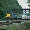 Eastbound Q300-series junk freight passing Miller Tower at Cherry Run, MD. 2000.