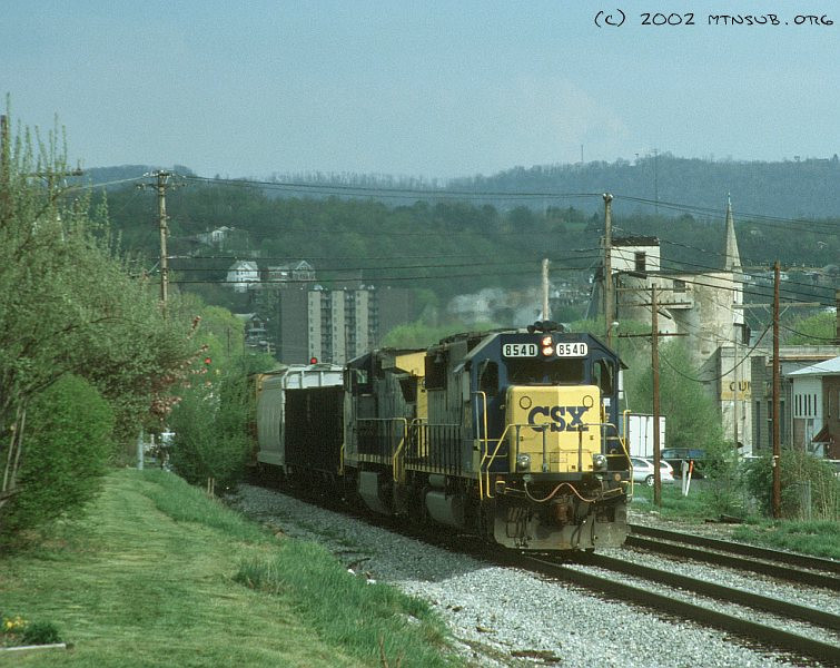 Leaving Cumberland westbound, 2002.