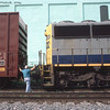 Helper coupling up to a westbound. 2002.