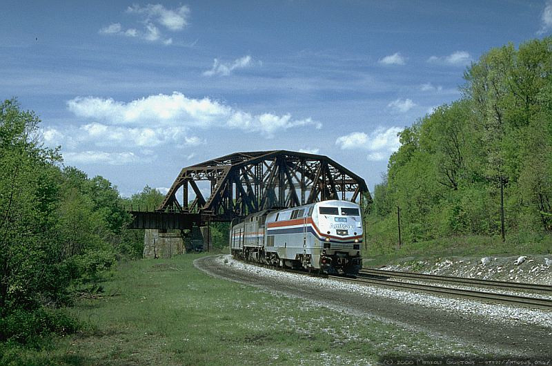 Amtrak P030 eastbound at Keystone, PA. 2000.