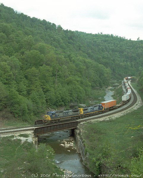 Westbound trailer train at Foley, PA. 2001.
