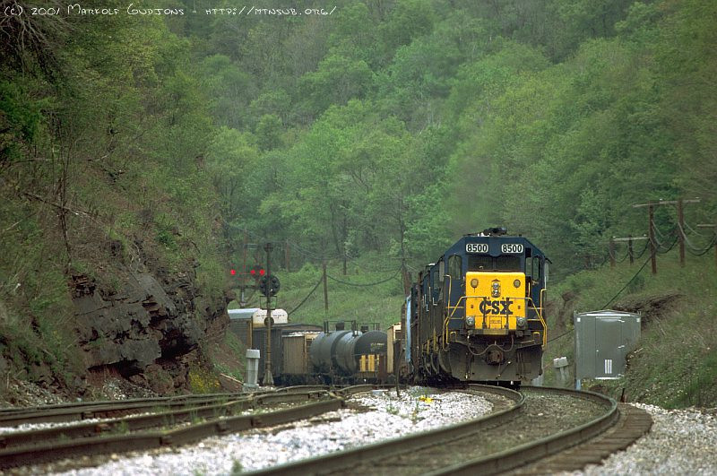 Connellsville helpers detaching from eastbound on Sand Patch. 2001.