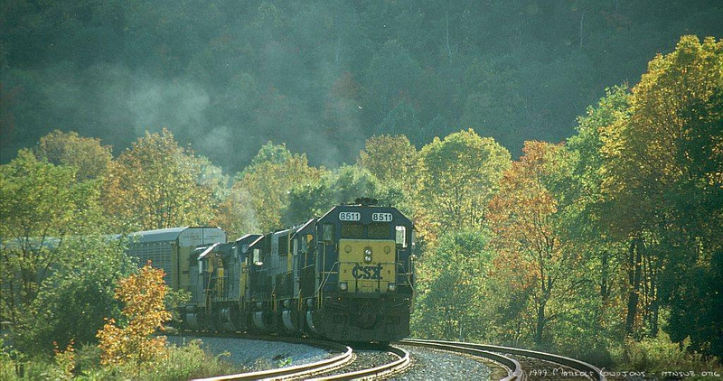 Eastbound autoracks with lots of power holding at Glencoe, PA during the traffic crunch of 1999.